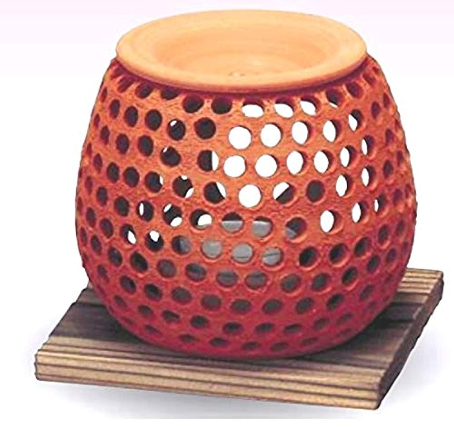正当な綺麗な貪欲常滑焼 石龍作 茶香炉(アロマポット)径10×高さ10cm