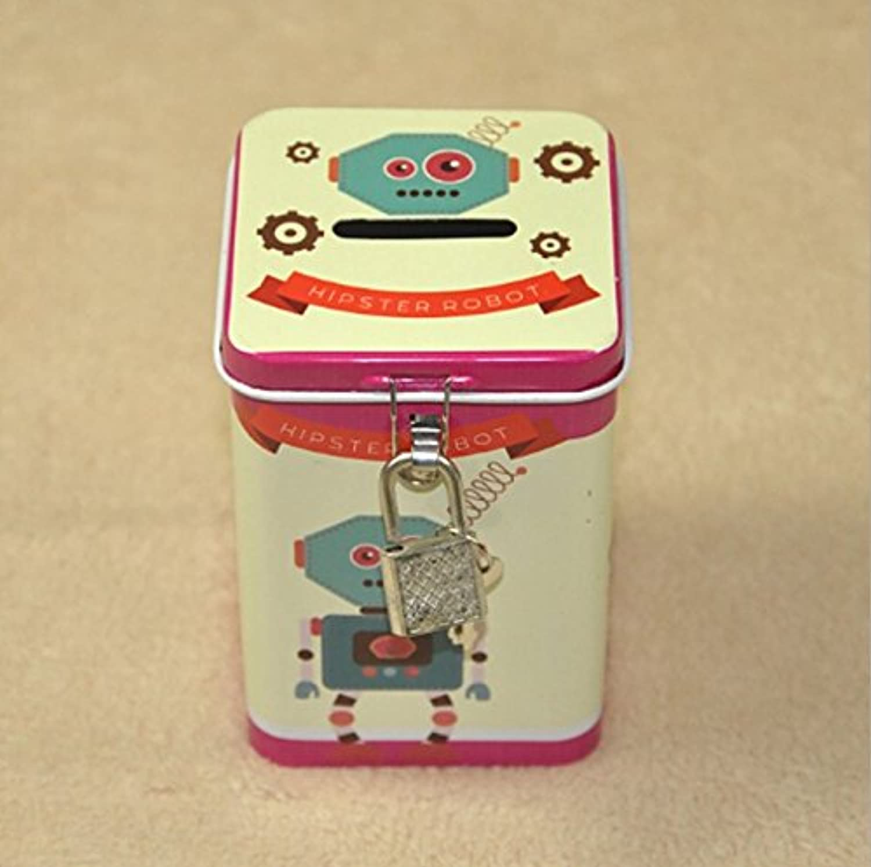 マネー バンク 革新的なロボットピギーバンクプレミアムティンプレートポットクワッドアイアンボックス(ピンク)