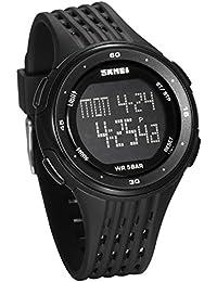 JewelryWe 多機能 ファション スポーツウオッチ 学生 腕時計 デジタル表示 LEDライト アラーム 12/24H表示 5ATM防水 ブラック