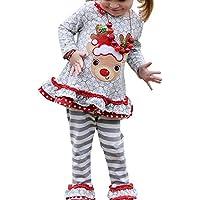 Kids Baby Girls Christams Cartoon Reindeer Long Sleeve Shirt Dress Stripe Pants Xmas Gift Set