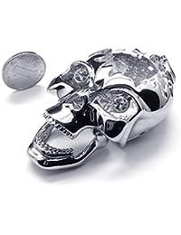 [テメゴ ジュエリー]TEMEGO Jewelry メンズクリスタルステンレススチールヴィンテージペンダントゴシックスカルネックレス、シルバー[インポート]