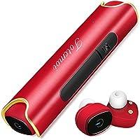 Bluetooth イヤホン スポーツ 高音質 小型 防水 ワイヤレス イヤホン 軽量 カナル型 片耳 両耳 ブルートゥース ヘッドセット おしゃれ (レット)