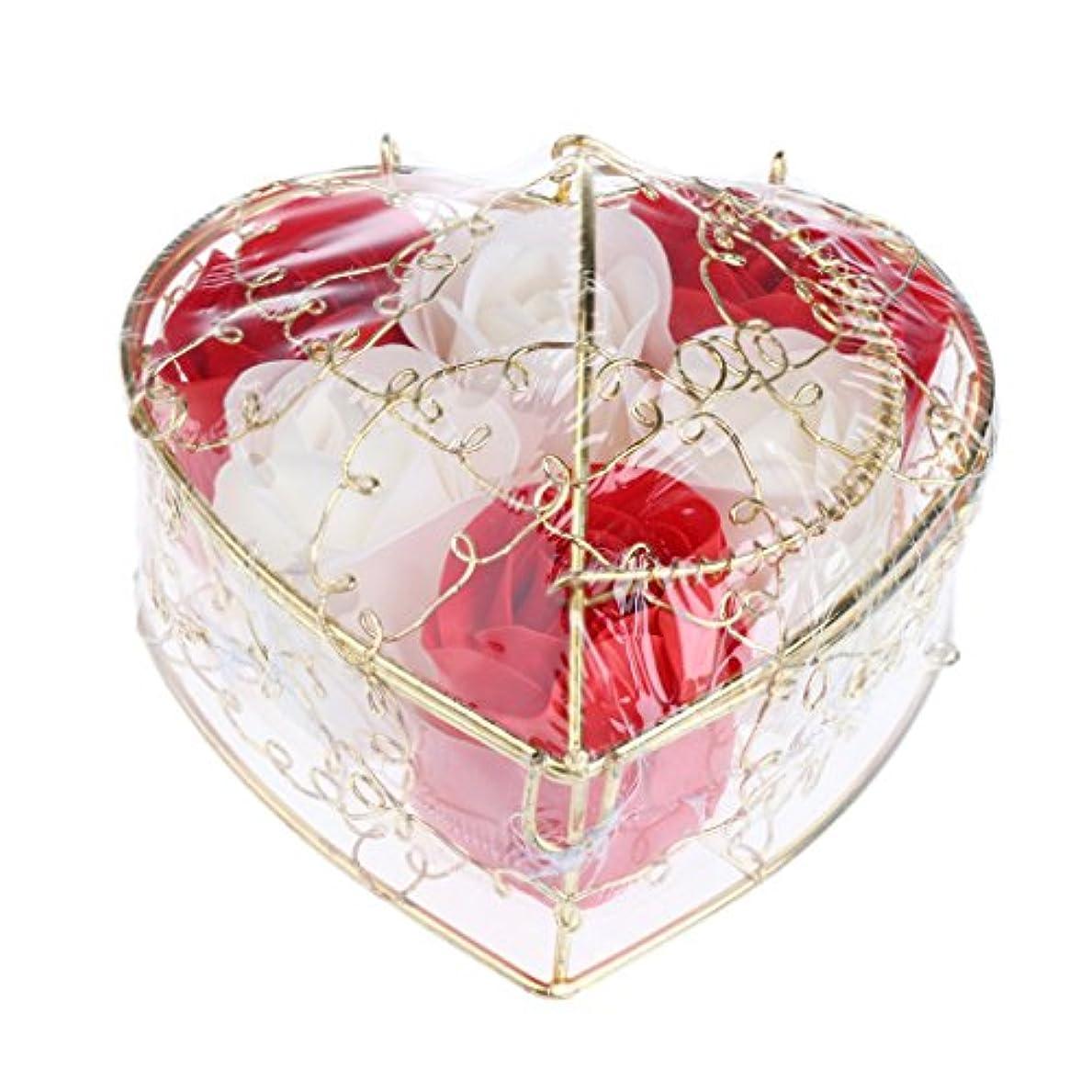 不合格ペニー価値IPOTCH 6個 ソープフラワー 石鹸花 造花 バラ フラワー ギフトボックス 誕生日 母の日 記念日 先生の日 プレゼント 全5仕様選べる - 赤と白