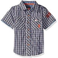U.S. Polo Assn. Boys Short Sleeve Plaid Fashion Woven Shirt Short Sleeve Button Down Shirt - Blue