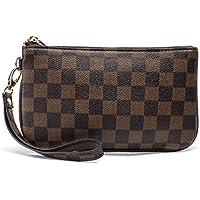 Checkered Zip Wristlet Wallet for women Leather RFID Blocking Purse