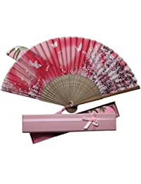 Boshiho 扇子 & 扇子袋 箱付き 扇 和風 和装 高級シルク ギフトボックス 正絹 綺麗 花柄 レディース おしゃれ 上品 華やか お祝い プレゼント レッド