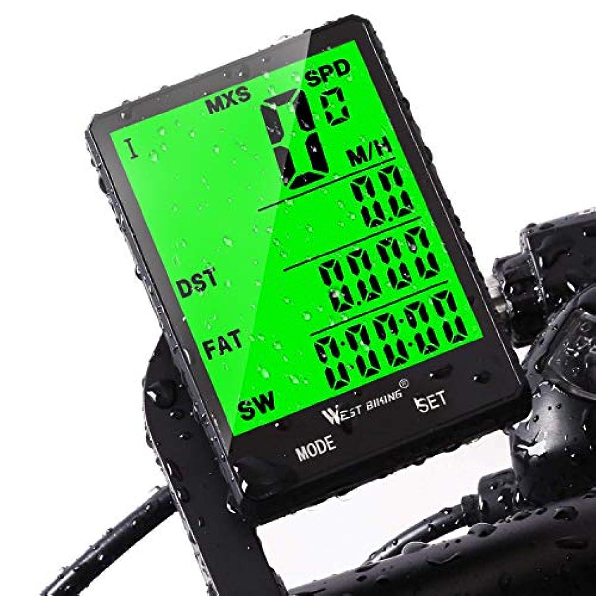 適切に直面する慰めサイクルコンピュータ、West Bikingワイヤレス防水自転車走行距離計、自動ウェイクアップLarge LCDバックライト、モーションセンサー、バイク速度計速度と距離の追跡の乗馬、サイクリングアクセサリー