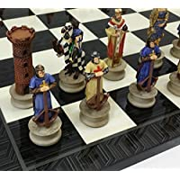 Medieval Times Crusades Christian Knight Chess Set Hand Painted W/ 17 Black & Gray Geometric Design Board by HPL [並行輸入品]