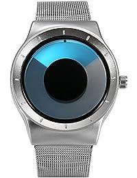 Lancardo 腕時計 メンズ 腕時計 レディース 渦模様 針ない ウオッチ ステンレスベルト グラデーション表示 オシャレ クォーツ 腕時計 ファッション アクセサリー プレゼント 最適 (ブルー)