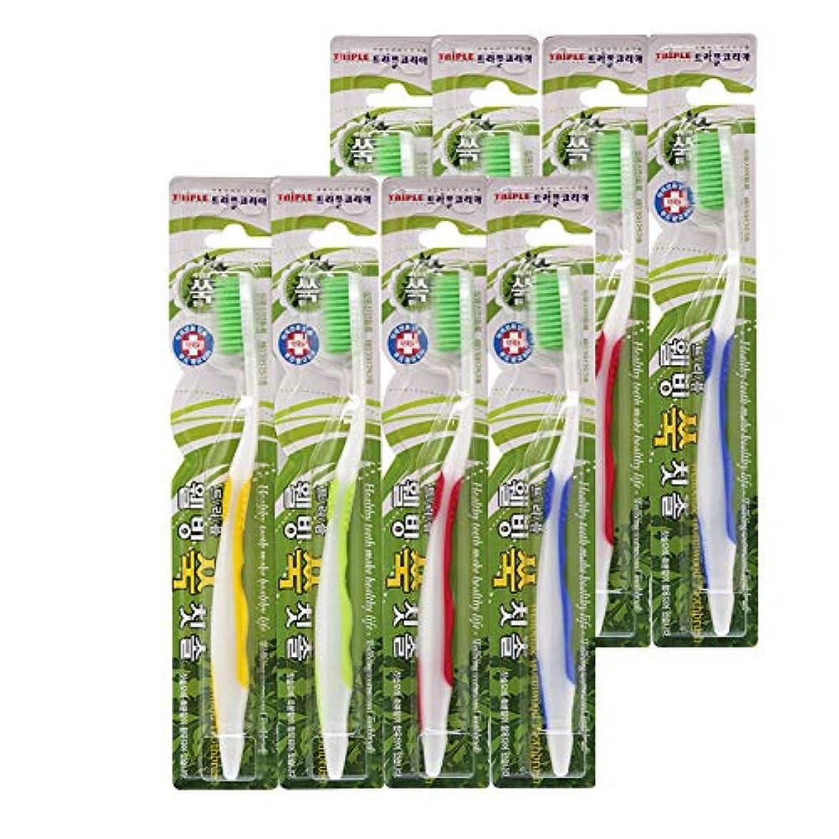 経過弾薬懐疑的【3Life(トリプルライフ)】よもぎグリーン歯ブラシ4本セット よもぎ成分配合 100%極細毛 抗菌毛 (ウェルビーイングよもぎ歯ブラシ8個セット)