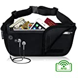 MYCARBON RFID Money Belt,Hidden Travel Pouch Under Clothes,Waterproof Passport Holder for Women Men,Anti Theft RFID Wallet Waist Pack for Traveling Sports and Daily Use - Money Pouch for Cell Phone