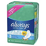 ALWAYS Ultra Thin Size 3 Extra Long Super Pads With Wings Unscented, 38 Count