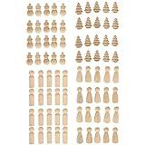 SONONIA 木製 ペグ 人形 雪だるま/ツリー/男性/女性の形 工芸品 DIY 飾り ケーキトッパー クリスマス 結婚式 ギフト 全2セット - セット1(80個)