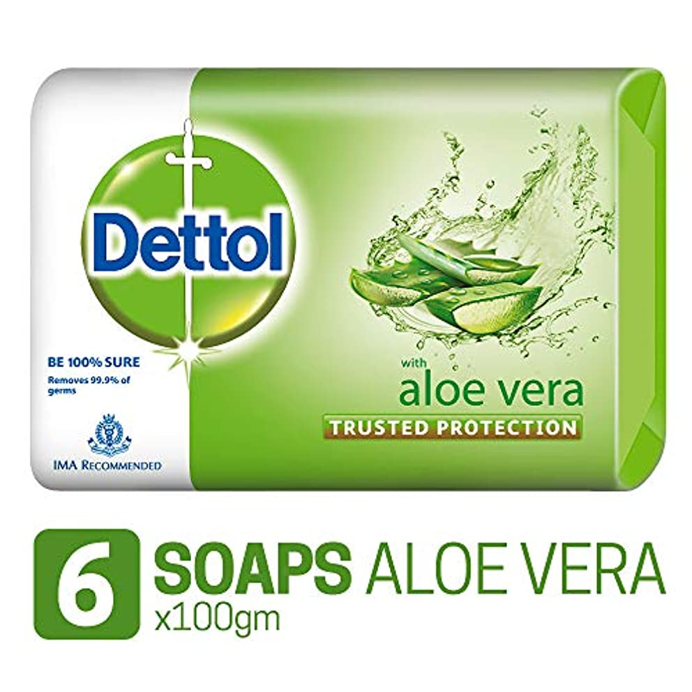 子音事業内容摂動Dettol Soap - 100 g (Pack of 6, Aloe Vera)