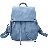College Backpack Shoulder Bag PU Bag for Men & Women Fashion Ladies Backpack School Bags for Teenagers (Color : Blue)