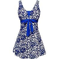 Wantdo Women's Tankini Swimsuit One Piece or Two Pieces with Boyshorts Bottom Tummy Control Swimdress Coverup Swimwear