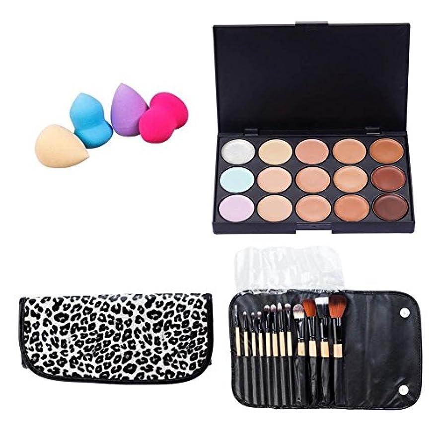 プロメイクアップアーティスト化粧品アクセサリーセットキット15色コンシーラーファンデーション、4カラフルなアプリケーター/アプリケーションスポンジ、ケース内の12種類のメイクアップブラシ