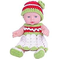 KIDDING 30cmハンドメイドセーター シミュレーション赤ちゃん 入浴人形 ソフトベビー 幼児教育 劇場 子供たち プリンセス 若い女の子 おもちゃ人形 (緑色のセーター頭髪の人形)