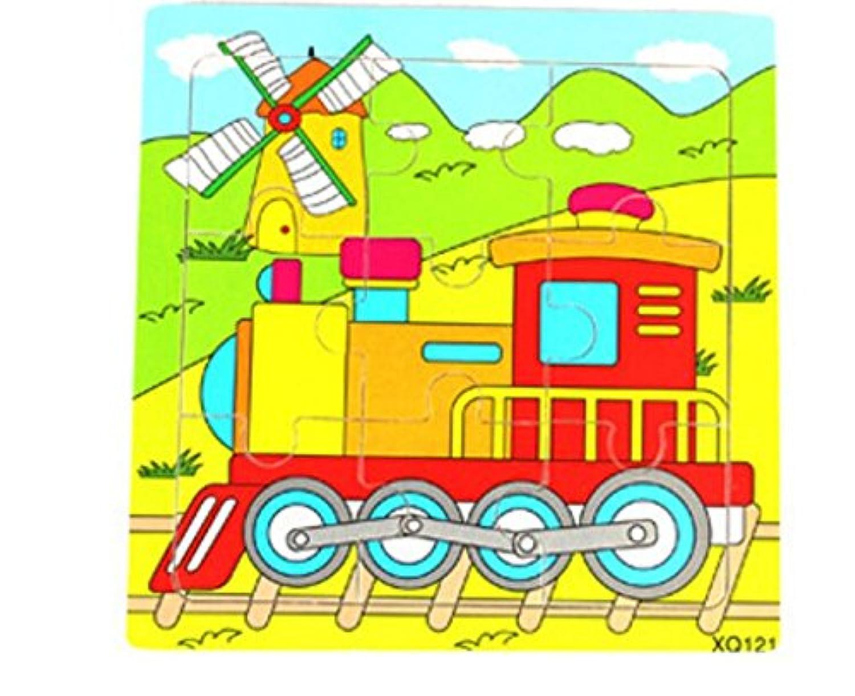 HuaQingPiJu-JP かわいい木製の教育的なパズルアーリーラーニングの数字の形の色の動物のおもちゃキッズのための素晴らしいギフト(電車)