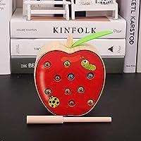 Zhenyu 木製玩具 赤ちゃん 学習 知育玩具 捕虫 ゲーム アップル 洋梨 トマト イチゴ フルーツ 数字 おもちゃ One size Zhen-1