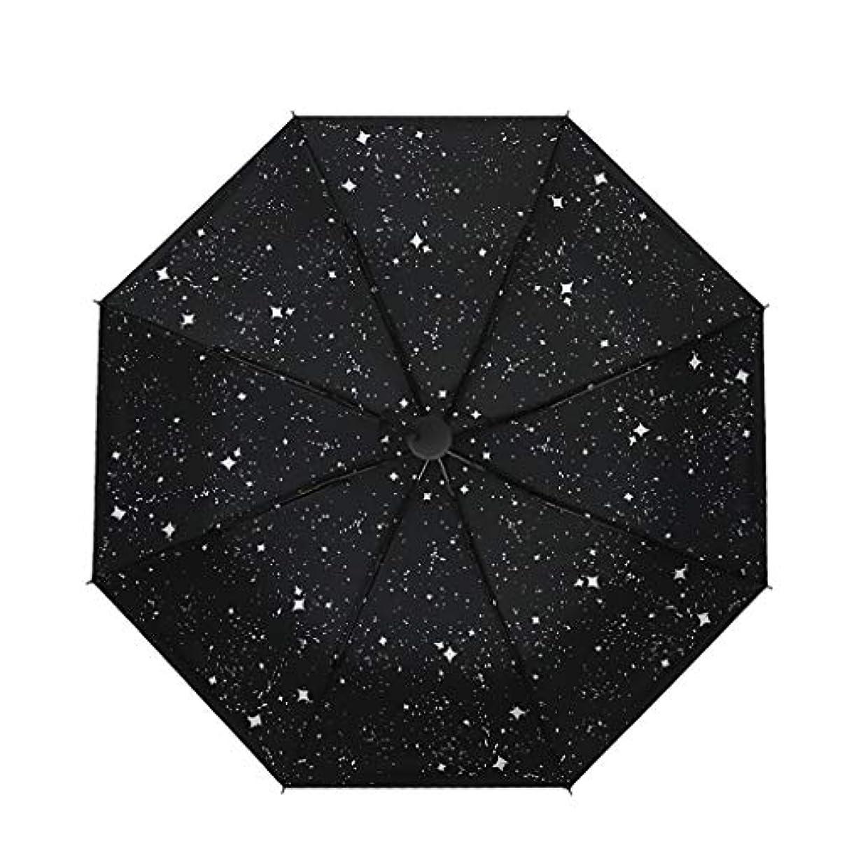 最初は不従順プロフィール星空黒傘日当たりの良い傘デュアルユース3つ折り日傘傘黒プラスチック傘日焼け止めUV (色 : B)
