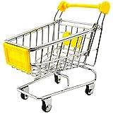 ミニショッピングカートセールスマンサンプルの子のおもちゃメタルショッピングバギーイエロー