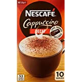 NESCAFÉ Decaffeinated Cappuccino Coffee Sachets 10 Pack, Chocolate Shaker Included