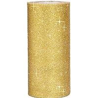 グリッター チュールロール ハード 生地 スパンコール キラキラ 結婚式 DIY 宴会 装飾 DIY ギフトラップ 幅約15cm 約23メートル (ゴールド)