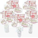 Mis Quince Anos - Quinceanera Sweet 15 バースデーパーティー センターピース スティック - テーブルトッパー - 15個セット