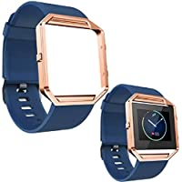 Lookatool Soft Silicone Watch Band Wrist strap + Metal Frame For Fitbit Blaze Watch (Blue )
