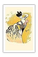 Louise Balthy - フォーリー・ベルジェール - ビンテージな劇場のポスター によって作成された リオネト・カピエロ c.1902 - プレミアム290gsmジークレーアートプリント - 61cm x 91cm