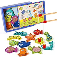 Lewo Wooden Fishing Game Magnetic Fish Pole Set Educational Toys for Toddler Kids Ages 2 3 4 [並行輸入品]
