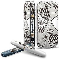 IQOS 2.4 plus 専用スキンシール COMPLETE アイコス 全面セット サイド ボタン デコ 瓶 英語 モノトーン 012678