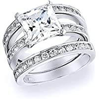Bling Jewelry 925 Sterling Channel Set Princess CZ Engagement Wedding Ring Set