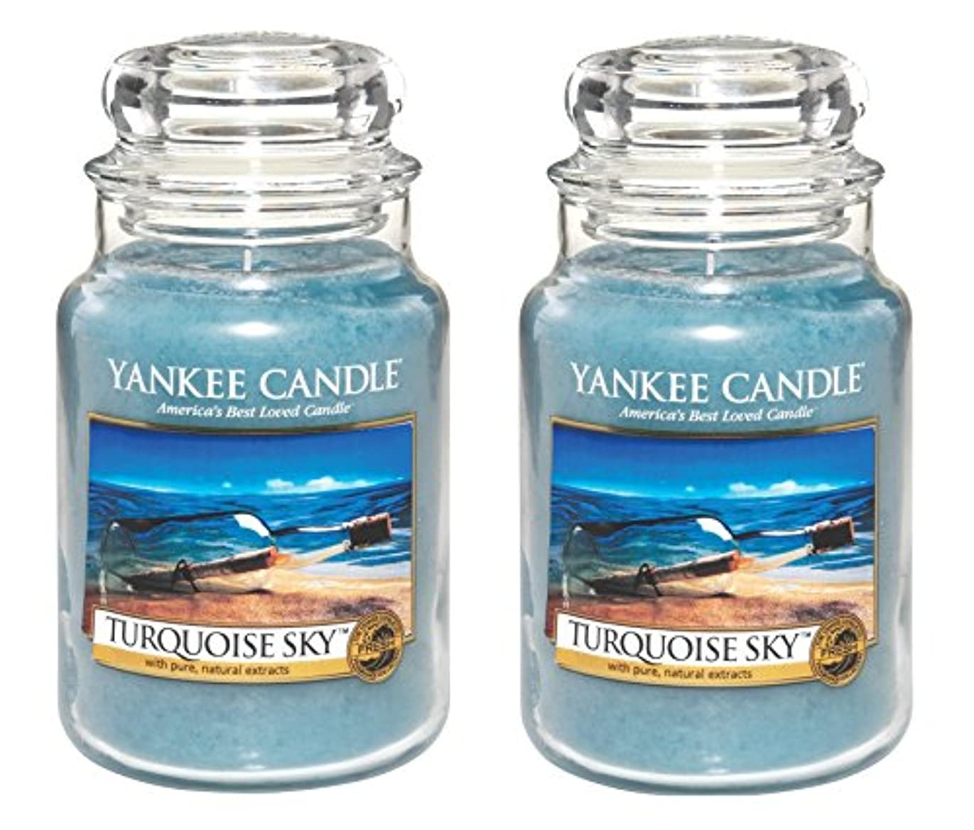 難民長くするウェイターYankee CandleターコイズSky 22oz Jar Candle、Large 2パック