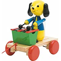 Woodyland 21 x 19 cm Didactic Toys Pull Along Dog with Xylophone