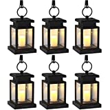 SINJIAlight Solar Lights Outdoor Hanging Lantern, Solar LED Lights for Garden Decor Pathway Yard Fence, Candle Flicker Effect, Warm White, Auto On Off (Black 6 Pack)