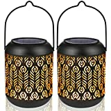 LeiDrail Solar Lantern Lights Outdoor Tabletop for Halloween Part Table Pathway Garden Yard Sun Powered LED Hanging Lighting Metal Waterproof Landscape Lighting with Handle- 2 Pack