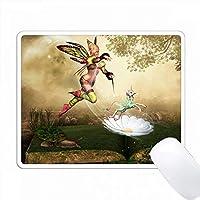 妖精は花の中から少しユニコーンを思い浮かべます PC Mouse Pad パソコン マウスパッド