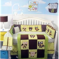 Soho Blue & Brown Suede Baby Crib Nursery Bedding Set 13 pcs included Diaper Bag with Changing Pad & Bottle Case by SoHo Designs