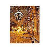 Yyboo 数字によるデジタルキャンバス油絵ギフト大人子供キットホームデコレータ - 街灯雪 (木製フレーム)