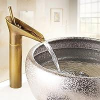 (ビコラ)  BECOLA アンティークブラス仕上げの浴室のシンクの蛇口 (混合水栓・洗面ボウル・洗面台用蛇口)