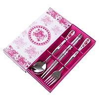OUNONA カトラリー スプーン フォーク 箸 3点セット ステンレス製 食器セット 携帯便利 家族用 贈り物(ピンク)
