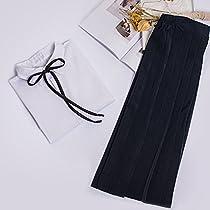 可愛い 学園風 セーラー服 3点セット(半袖+スカート+靴下) 5型対応  (XL, A:丸ネック半袖+スカート(ネイビー)+靴下)