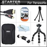 """スターターアクセサリーキットfor the Panasonic dmc-fx90Kデジタルカメラはデラックス携帯ケース+ 7""""柔軟な三脚+マイクロHDMIケーブル+ USB High Speed 2.0SDカードリーダー+ LCDスクリーンプロテクター+ミニ卓上三脚+マイクロファイバークリーニングクロス"""