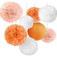 ペーパーフラワー 紙提灯 七夕 誕生日 飾り付け セット ウェディング パーティー 写真背景 暖かいオレンジ系 「8個セット」SUNBEAUTY