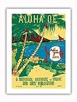 """Aloha 'Oe (お別れ) - 構成された によって 女王""""Liliuokalani"""" - ヴィンテージ・ハワイアン・シート・ミュージック によって作成された ルース・ヘーズルウッド c.1939 - プレミアム290gsmジークレーアートプリント - 30.5cm x 41cm"""