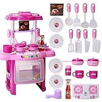 SUSUQI ままごと遊び キッチンセット 台所 組立式 鍋 お皿 フライパン 食器 調理器具付 遊びセット 知育玩具 子どもの誕生日プレゼント 入園お祝い お料理しましょう! (Pink)