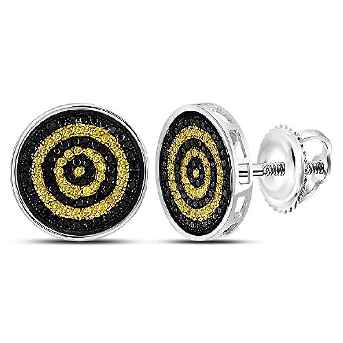 嬉しいです残酷六月Roy Rose Jewelry スターリングシルバー メンズ ラウンド イエロー ブラックカラー 強化ダイヤモンド サークル スタッドピアス 1/2カラット tw
