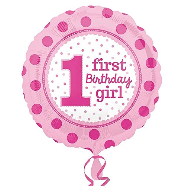 (アムスキャン) Amscan 1歳のお誕生日 First Birthday アルミ風船 パーティー バルーン (ワンサイズ) (ピンク)